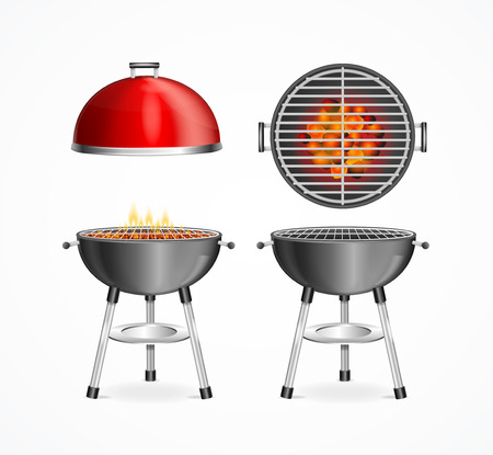 Realistic Detailed 3d Bbq Grill Set Closeup View with Fire and Charcoal. Vector illustration of Barbecue Grills