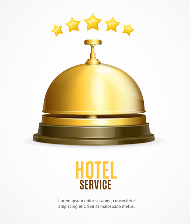 Hotel Reception Service Banner with Realistic Detailed 3d Reception Bell for Advertising, Marketing and Promotion. Vector illustration