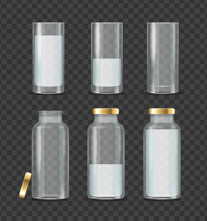 Realistic Detailed 3d Milk Bottle and Glass Set. Vector Ilustrace