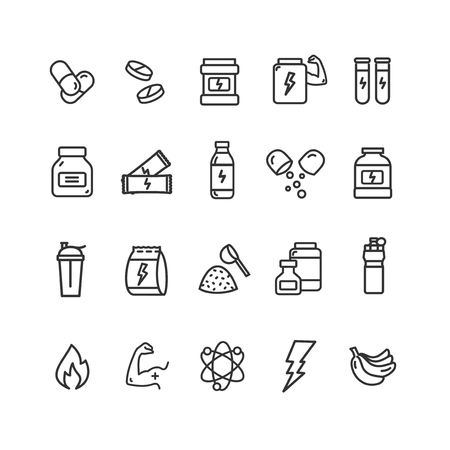 Nutrition Signs Black Thin Line Icon Set. Vector