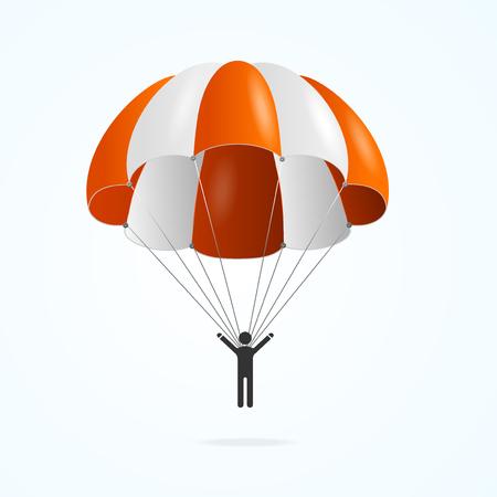Paracaídas de color 3d detallado realista y persona de silueta negra aislada sobre fondo blanco. Ilustración de vector de paracaidista actividad hombre Ilustración de vector