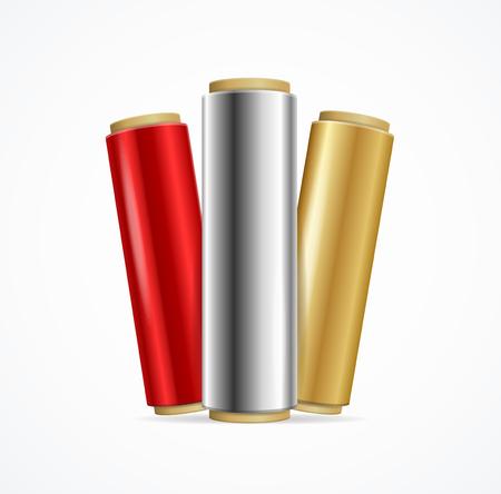 Realistic 3d Detailed Shiny Foil Roll Set Color. Vector Standard-Bild - 112368456