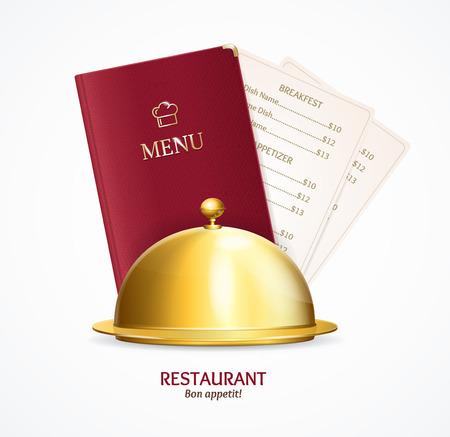 Realistic Detailed 3d Restaurant Menu Concept. Vector Standard-Bild - 112368457