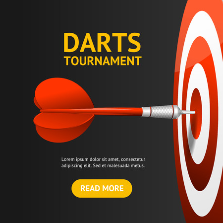 Realistic Detailed 3d Dartboard with Darts Banner Card. Vector Standard-Bild - 112368458