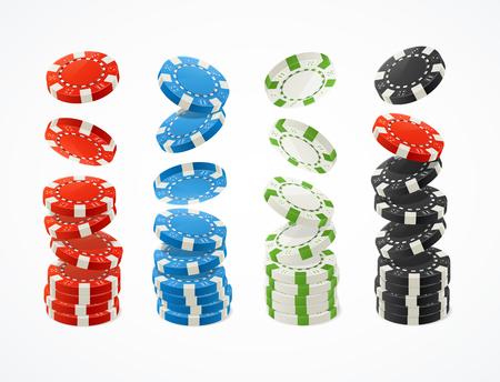 Realistic Detailed 3d Poker Chips Stack Set. Vector Standard-Bild - 112368459