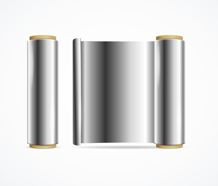 Realistic 3d Detailed Shiny Silver Foil Roll. Vector Standard-Bild - 112368460