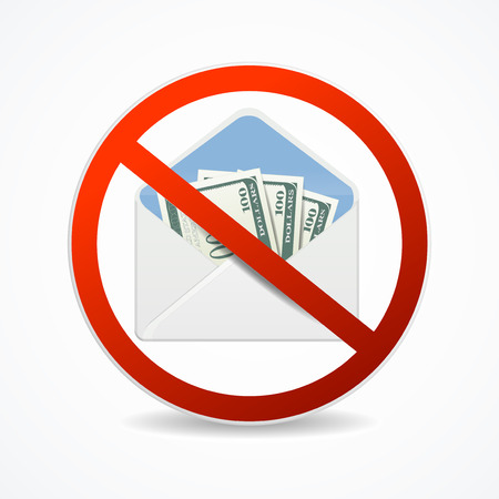 Realistic Detailed 3d No Corruption Sign with Money Mail. Vector Standard-Bild - 112368461