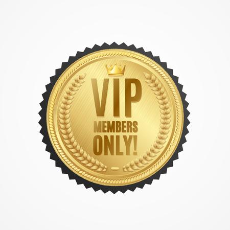 Realistic 3d Detailed Vip Members Only Golden Badge. Vector Standard-Bild - 112368464