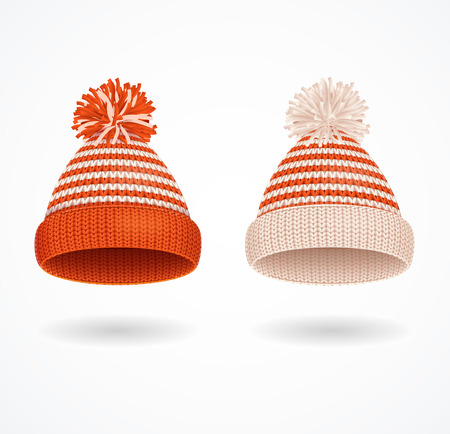 Realistic 3d Detailed Winter Hat Set. Vector Standard-Bild - 112368465