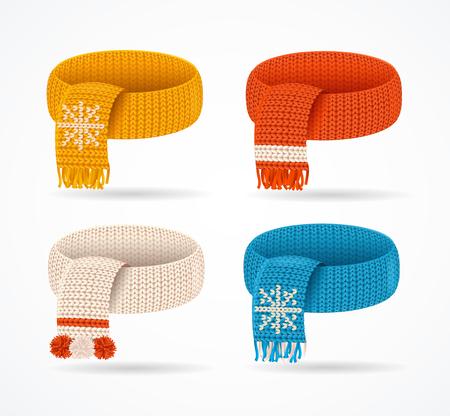 Realistic 3d Detailed Winter Knitted Scarfs Set. Vector Standard-Bild - 112368466