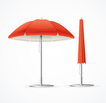 Realistic 3d Detailed Red Summer Cafee Umbrella Set. Vector Standard-Bild - 112368467