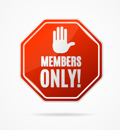 Realistic 3d Detailed Members Only Stop Red Sign. Vector Standard-Bild - 112368468