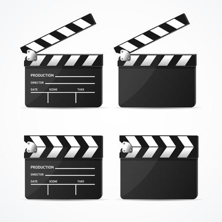 Realistic 3d Detailed Black Clapper Set. Vector Standard-Bild - 112368470