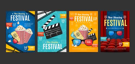 Cinema Placard Set with Realistic 3d Detailed Element. Vector Standard-Bild - 112368471