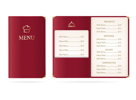 Realistic Detailed 3d Menu Restaurant Set. Vector Standard-Bild - 112368565