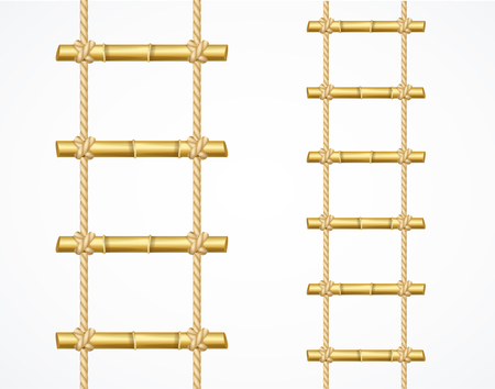 Realistic 3d Detailed Bamboo Ladder Set. Vector Standard-Bild - 112368566