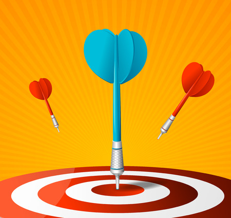 Realistic Detailed 3d Dartboard with Red and Blue Darts. Vector Standard-Bild - 112368567