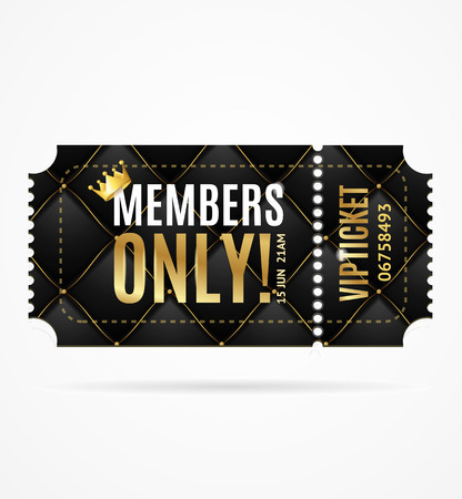 Realistic 3d Detailed Vip Ticket Members Only. Vector Standard-Bild - 112368569