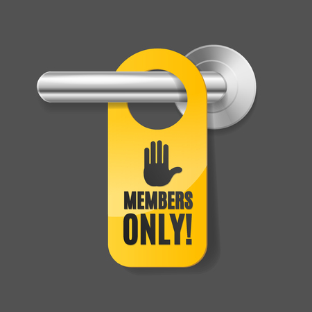 Realistic 3d Detailed Members Only Sign and Door Handle. Vector Stock Photo