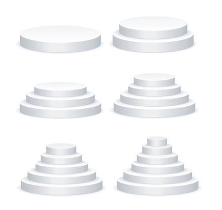 Realistic Detailed 3d White Blank Round Podium Template Mockup Set. Vector Standard-Bild - 112368572