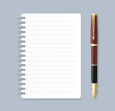 Realistic 3d Detailed Notebook Lined Spiral and Pen. Vector Standard-Bild - 112368574