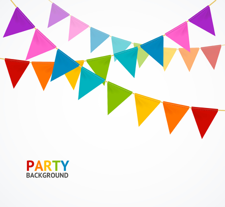 Party Concept Banner Card with Buntings Garland Flag Anniversary or Event Concept for Service Business. Vector illustration  イラスト・ベクター素材