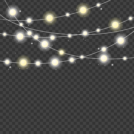 Realistic 3d Detailed Christmas Lights Strings on a Transparent Background Celebration Decor. Vector illustration of Light String