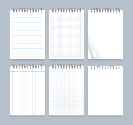 Realistic 3d Detailed Notebook Lined Spiral Set with Empty Paper Sheet Office Stationary. Vector illustration of Notebooks  イラスト・ベクター素材