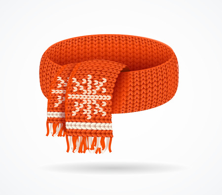 Realistic 3d Detailed Winter Knitted Scarf. Vector  イラスト・ベクター素材