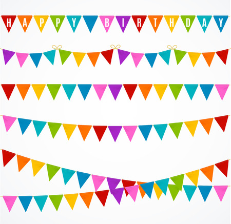 Realistic 3d Detailed Colorful Buntings Garland Flag Set Decor Element for Happy Birthday. Vector illustration of Flags