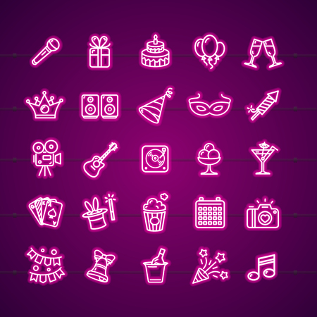 Party Signs Neon Thin Line Icon Set Include of Gift, Champagne, Hat and Firework. Vector illustration of Icons
