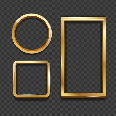 Realistic 3d Detailed Golden Frame Set. Vector Standard-Bild - 112646818