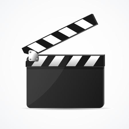 Realistic 3d Detailed Black Clapper Clean Template. Vector Standard-Bild - 112646819