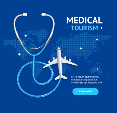 Medical Tourism Concept Banner Card with Realistic 3d Detailed Elements. Vector Standard-Bild - 112646820