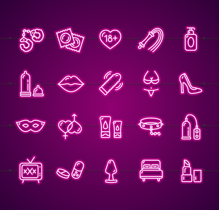 Sex Shop Signs Neon Thin Line Icon Set. Vector