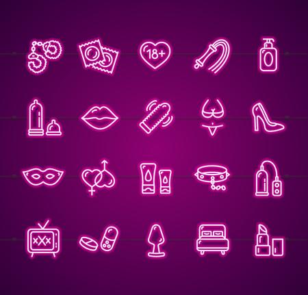 Sex Shop Signs Neon Thin Line Icon Set. Vector Standard-Bild - 112646821
