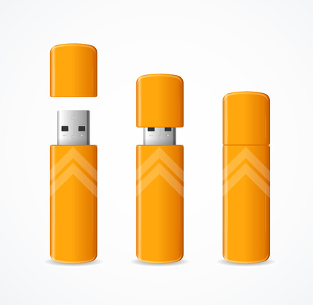 Realistic 3d Detailed Yellow USB Flash Drive Set Information Technology Concept. Vector illustration of Stick Memory Disk  イラスト・ベクター素材