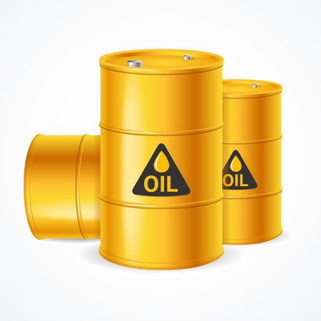 Realistic 3d Detailed Yellow Barrels Set. Vector Standard-Bild - 112874399