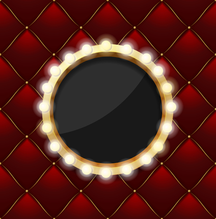 Realistic 3d Detailed Round Makeup Mirror on a Red Quilted Pattern Background Symbol of Fashion and Glamour. Vector illustration