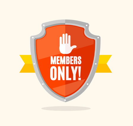 Cartoon Members Only Sign Shield and Ribbon Symbol of Protection Association Concept Flat Design Style. Vector illustration