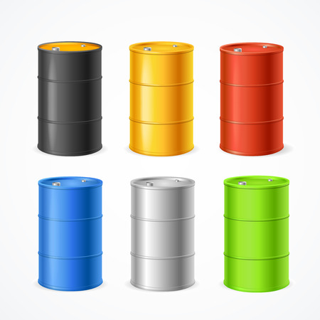 Realistic 3d Detailed Color Barrels Set. Vector Standard-Bild - 112874413