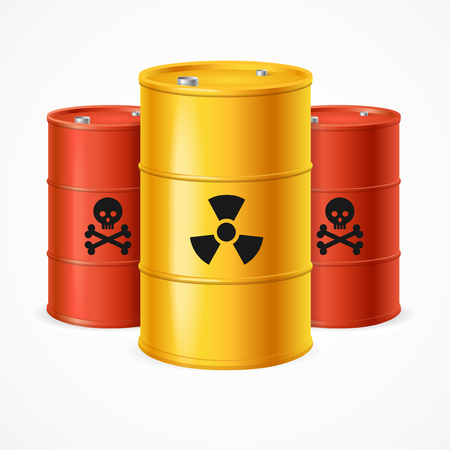 Realistic 3d Detailed Radioactive Waste Barrels Set Symbol of Toxic Danger Pollution Environment. Vector illustration of Barrel Illustration