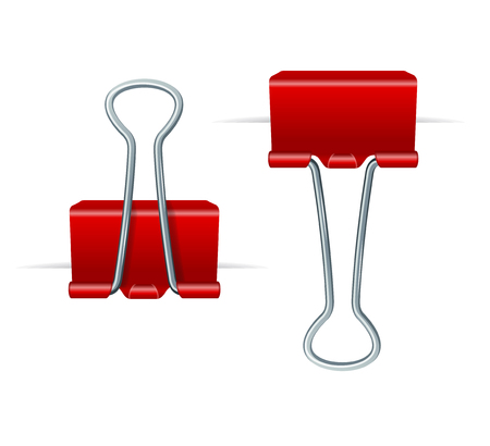 ealistic 3d Detailed Red Binder Clips on a Paper Equipment Stationary for Education or Work. Vector illustration