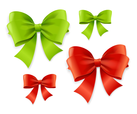 Realistic 3d Detailed Green and Red Bow Set Decoration Elements for Holiday and Birthday Celebration. Vector illustration