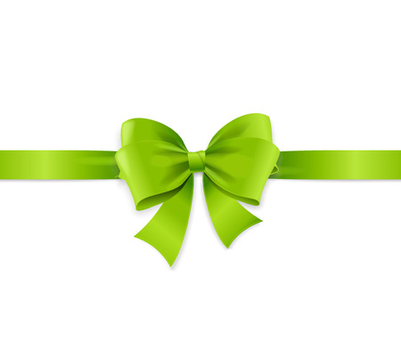 Realistic 3d Detailed Silk Green Bow with Horizontal Ribbon for Decor Gift and Present Box. Vector illustration Standard-Bild - 112811450