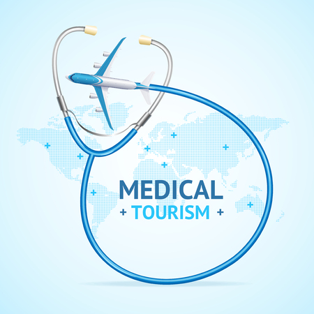 Medical Tourism Concept Banner Card with Realistic 3d Detailed Elements. Vector Standard-Bild - 112874419