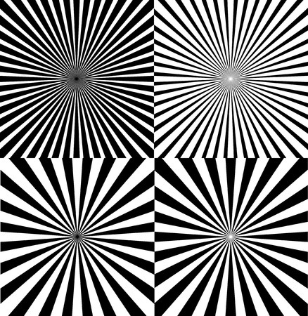 Black And White Ray Star Burst Abstract Background Set Retro Style. Vector illustration of Sunburst Radial Pattern Ilustração