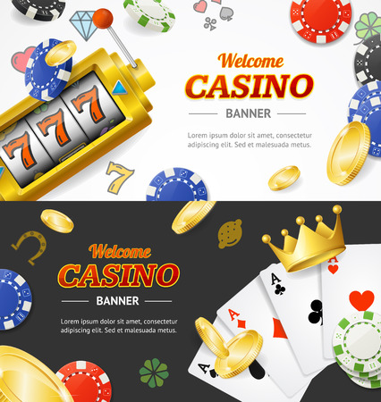 Casino Banner Horizontal Set with Realistic Detailed 3d Elements. Vector Standard-Bild - 113359283
