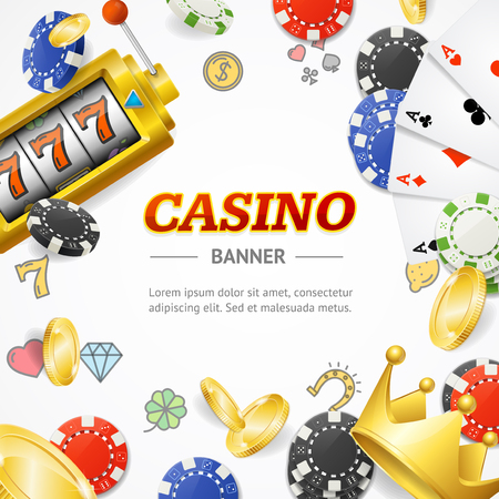 Casino Concept Banner Card with Realistic 3d Detailed Elements. Vector Standard-Bild - 113359284