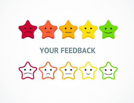 Feedback or Rating Stars from Positive to Negative Emoticon. Vector Standard-Bild - 113359285